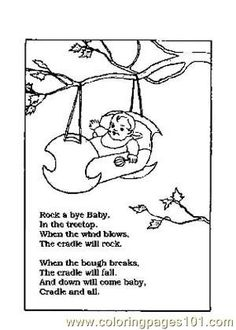 rock a bye baby yup we all remember that one nursery rhymes picture coloring page