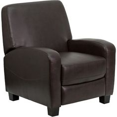 Flash Furniture Leather Push Back Recliner, Brown
