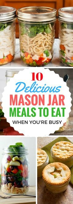 10 Mason Jar Meal Recipes For Work Lunches - DELICIOUS and EASY meals that you can make ahead by putting them in a mason jar for breakfast, lunch or dinner. Also includes healthy mason jar meals, espe Mason Jar Lunch, Mason Jar Meals, Meals In A Jar, Mason Jar Diy, Make Ahead Meals, Easy Meals, Easy Snacks, Pots, Breakfast On The Go