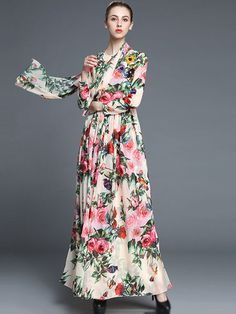 Elegant O-Neck Long  Sleeve Floral Print Silk Maxi Dress from DressSure.com #dresssure #fashion #dresses #HighQuality