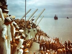 """Formal ceremonies of the Japanese surrender takes place aboard the USS """"Missouri"""" in Tokyo Bay."""