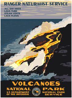 Hawaii Volcanoes National Park, Volcano National Park, National Parks Usa, Wpa National Park Posters, Steve Thomas, Voyage Usa, Wpa Posters, Park Art, Big Island Hawaii