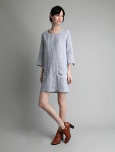 Linen Shift Dress by OTHER