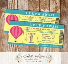 Up Up & Away Hot Air Balloon Girl Birthday Party Ticket Invitation