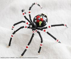Vintage Red White and Black Flower Christmas Spider Beaded