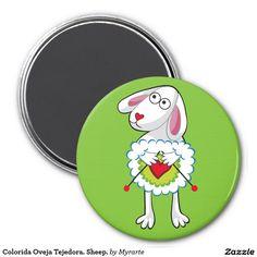 Colorida Oveja Tejedora. Sheep. Regalos, Gifts. #imanes #magnets
