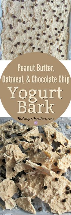 This easy recipe for Peanut Butter, Oatmeal & Chocolate Chip Yogurt Bark is the perfect  healthy snack especially when you are on the go. I threw in sugar free chocolate chips just for fun but, you can omit them if you want to.