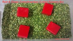 Red & Green Complimentary Colors Sensory Bin. Toddlers and babies can get into the Christmas spirit with this, or just learn about complimentary colors any time of the year.