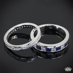 These gorgeous Custom Channel Set Diamond Wedding Rings are completely stunning! The first beauty is set in platinum and has a full eternity design. It shines with 0.75ctw princess diamond melee and is 2.5mm wide. The second is also set in platinum and features 4 princess cut diamond melee that alternate with 5 vivid princess cut blue sapphires