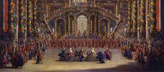 Francesco Battaglioli. Escenografías para el Real Teatro del Buen Retiro. Se puede afirmar que en la España de los siglos XVI al XVIII debieron coexistir ya dos lugares diferentes y complementarios social para la representación: corrales donde tenían lugar las comedias, y los salones de los palacios reales,-propicios para la puesta en escena de estas primeras óperas, pero en los que también se representaban algunos comedias tramoyas