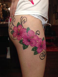 hibiscus tattoo,flower tattoo. follow me, www.facebook.com/mad.tattoo.studio. Instagram mad_tattoo_johnny