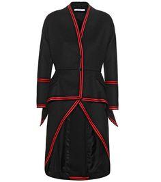 Black wool-blend crêpe coat