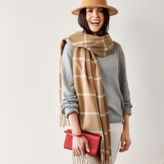 "Blanket Scarf, Windowpane in camel/white monogrammed with Victorian font in saddle brown ""JNA"""