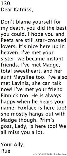 Dear Katniss.... i like, sobbed all through this