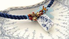 Freeform Beadwork Bracelet-Broken China Jewelry-Floral Blue