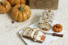 petit d'licious | Moist Pumpkin Nuts Pound Cake- Dollhouse Miniature Cake 1:12th
