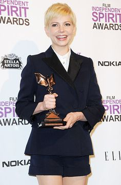 Michelle Williams scored the win for Best Female Lead for her stunning turn in My Week With Marilyn at the 2012 Film Independent Spirit Awards on Feb. 25, 2012.