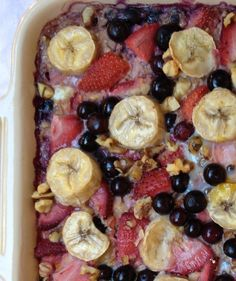 Baked Oatmeal with Strawberries, Blueberries, and Banana, from meganopel.com