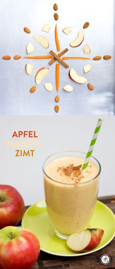 Apfel Mandel Zimt Smoothie eiweißshakes – Keep up with the times. Best Smoothie Recipes, Smoothie Drinks, Detox Recipes, Smoothie Bowl, Fruit Smoothies, Healthy Smoothies, Healthy Drinks, Smoothie Mixer, Paleo Dessert