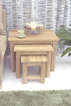 mobel oak nest of 3 coffee tables bonsoni mobel oak hideaway