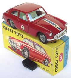 Corgi Toys Vintage MGB factory color & graphics trial sample
