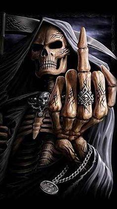 Second Life Marketplace - Grim Reaper - Finger up Poster Foto Fantasy, Dark Fantasy Art, Dark Art, Dark Gothic Art, Grim Reaper Art, Grim Reaper Tattoo, Ghost Rider Wallpaper, Skull Wallpaper, Joker Images