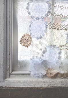 DIY Lace Doily Curtain Vintage White Antique Cream and White Farmhouse Romantic Prairie Farm Style