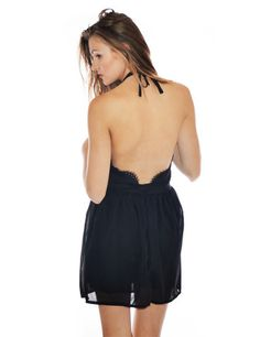 Black Backless Halter Dress with Eyelash Lace Detailing /// Daily Edit! 18-08-14