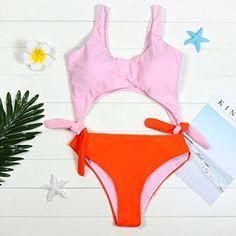 Amazon.com: lavany Mujer Traje de baño, una pieza lazo Swimwear Push-Up acolchado mediados de cintura playa, XL, Rosado: Clothing