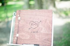 Rustic wooden wedding guestbook (Photo by Keepsake Memories Photography)