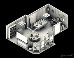 Interior Isometric By Aroche On Deviantart In 2020 images ideas from Home Inteior Ideas Isometric Drawing, Isometric Design, Crea Design, Polygon Modeling, Base Building, Spaceship Interior, Low Poly Models, House Drawing, Design Research