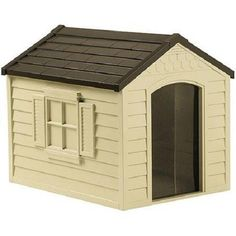 Plastic Dog House Outdoor Deluxe Pet Shelter Durable All Weather Large Kennel #PetHouse