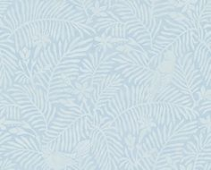 Calico Birds Mineral Blue (213733) - Sanderson Wallpapers - A two colour, pretty bird and foliage design based on original Sanderson leatherwork designs, perfect for a subtle all over background on one or four walls. Shown in the mineral blue colourway.  Paste the wall. Please request sample for true colour match.