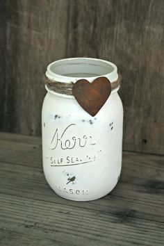 Primitive chalk paint mason jar.