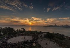 Sunrise photo of Un-Thanksgiving event on Alcatraz by Lenny Rush.