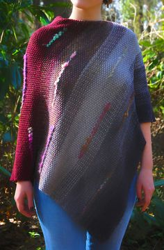 Scrap and Stash Yarn Shawl Knitting Patterns - In the Loop Knitting Knitting Machine Patterns, Poncho Knitting Patterns, Shawl Patterns, Knitted Poncho, Knitted Shawls, Free Knitting, Crochet Patterns, Simple Knitting, Find Your Fade Shawl