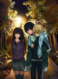 Anime: Noragami                                                                                                                                                                                 Personagens: Hiyori, Yato e Yukine