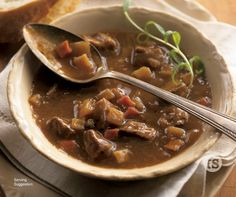 Rich, beefy, slow-simmered perfection with tender potatoes, carrots and celery.