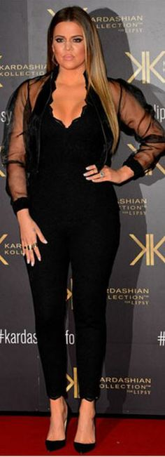 Who made  Khloe Kardashian's mesh top, black lace jumpsuit, and black pumps that she wore in London?