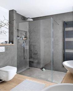 Bathroom Design Luxury, Modern Bathroom Design, Bad Inspiration, Bathroom Inspiration, Apartment Interior, Small Bathroom, Best Bathrooms, Bathroom Grey, Shower Bathroom