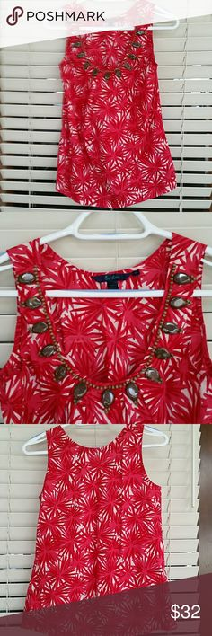 Almost new Boden summer top w embellishments, 10 Just gorgeous!  All beads intact and crisp cotton fabric. Great with white shorts or capri leggings.  Thanks for looking! Boden Tops Blouses