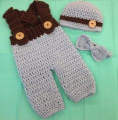 Newborn Overall Hat and Bow Tie Set Size: by MelissaCarynDesigns