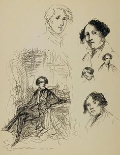 """Sketches of Charles Dickens (aged 25), drawn in April 1837 by George Cruikshank. The artist and illustrator George Cruikshank (1792-1878) worked closely with Charles Dickens when he provided illustrations for the young author's serialised novel """"Oliver Twist"""" (1837-1839)."""