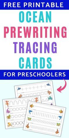 Free Printable Ocean Prewriting Cards for Preschoolers