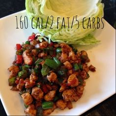 Use soy sauce -Chicken Lettuce Wraps 24 day challenge advocare low calorie clean eating Healthy Cooking, Healthy Snacks, Healthy Eating, Cooking Recipes, Healthy Recipes, Detox Recipes, I Love Food, Good Food, Advocare Recipes