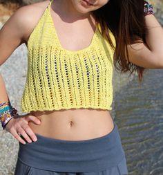 Summer crop top,hand knit cotton crop top,summer beach top, women's beachwear, by AlkistiKnits