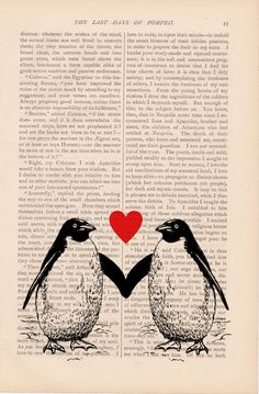 dictionary art vintage - two PENGUINS in LOVE print - Ex Libris Journals