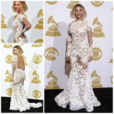 2014 new  long strain lace see through dress grammy awards 2014 Beyonce celebrity dresses  evening dress $120.00