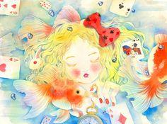 爱丽丝梦游鱼缸(´・_・`)-哆多__涂鸦王国插画