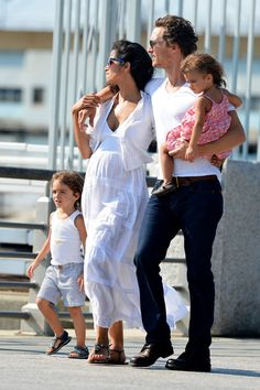 Matthew McConaughey in Matthew McConaughey takes pregnant wife Camila Alves and their children Levi and Vida for a stroll on the West Side Highway in NYC